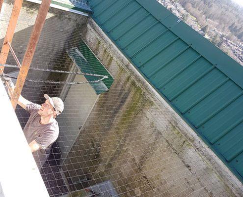 Bird net on a rooftop