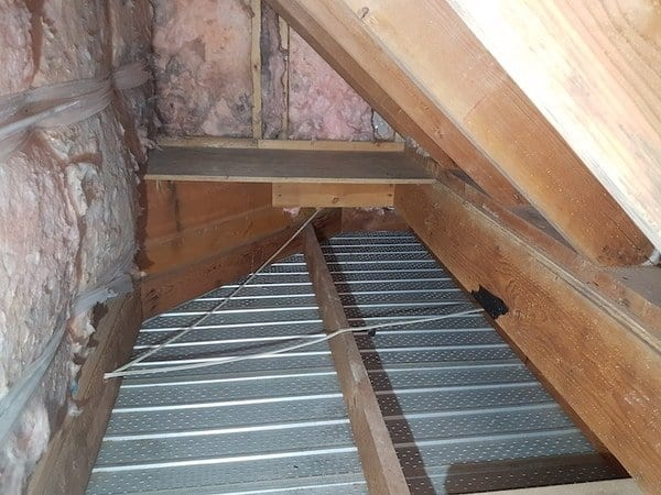 Rats nest in attic soffit after